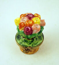 New French Limoges Trinket Box Gorgeous Colorful Tulip Flowers Bouquet in a Pot