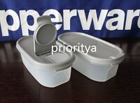 Tupperware Modular Mates Oval Container #1 with Pour All Seal in Grey Set 2 New