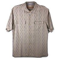 Tommy Bahama Mens Large 100% Silk Hawaiian Button Up Shirt Aloha Camp Island Tan