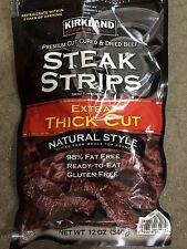 Kirkland Premium Steak Strips Dried Beef Jerky Thick Gluten Free Lean 12 Oz Bag