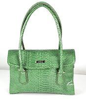 Liz Claiborne Shoulder Purse Bag Green Faux Crocodile
