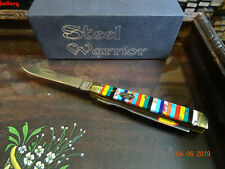 NEWEST STEEL WARRIORS DOCTORS KNIFE  MULTI-COLORED TURQUOISE HANDLES 440 SS