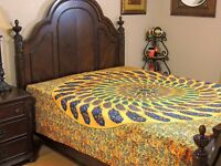 Yellow Blue Peacock Feather Cotton Bedding Indian Wall Tapestry Bed Sheet ~ Full