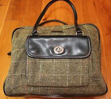 Plaid Tweed Handbag Satchel Purse Black Tan Dr Silver tone hardware EGO