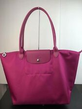 NEW Longchamp LARGE Nylon Packable Tote Shopper Bag In Purple Fuchsia Pink