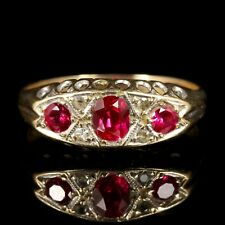Set Gold Ring 1960 Antique Ruby Diamond Ring Gypsy