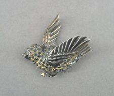 Vintage Jolle Bird Blue Stones Gold Vermeil over Sterling Silver Brooch Pin