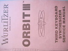 Wurlitzer Orgel Organ ORBIT III service manual englich