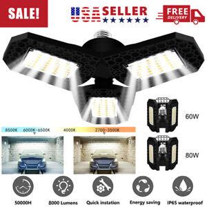 80W 8000LM Deformable LED Garage Light Super Bright Shop Ceiling Lights Bulb US