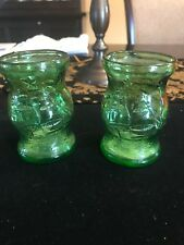 Pair Green Glass Wheaton Nautical Sailing Ships Stars Miniature Bottles Jars USA