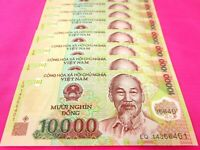 Vietnam Paper Money 5 PCS 10,000 Vietnamese Dong Each Viet Nam Currency