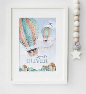 Hot Air Balloon Personalised Child's Picture Print Name Wall Art Gift UNFRAMED