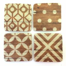 Wood Look Pattern Drink Table Coasters Set of 4 - Resin Stone Ceramic, Cork Base