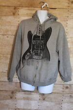 Tultex Retro Nirvana Grunge Punk Rock Guitar Gray Extra Large Hoodie Zip Jacket