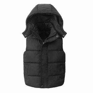 Kids Boys Girls Bodywarmer Gilet Padded Vest Puffer Jacket Baby Hooded Coat