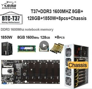 T37 Etherum cryptocurrency mining motherboard, cpu set with 8gb ddr3, 1850w PSU