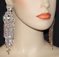18K YELLOW GOLD PLATED CUBIC ZIRCONIA LONG DANGLE STATEMENT TASSEL EARRINGS