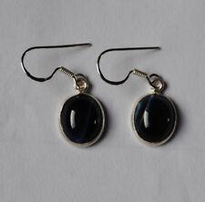 925 Sterlingsilber Ohrringe mit blauen Achat Edelsteinen