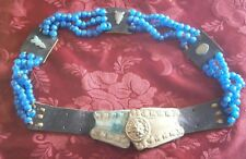 Antique Vintage Turkish Brass Lions Head Belt with Leather and Blue Glass Beads
