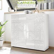 Mobile madia contenitore MIRO bianco laccato lucido serigrafato 2 ante moderno