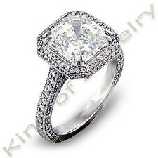 2.25 Ct Halo Asscher Cut Diamond Prong & Micro Pave Engagement Ring I,VS1 GIA