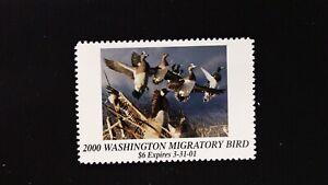 DR JIM STAMPS US STATE DUCK $6 WASHINGTON MIGRATORY BIRD WA-15 MINT NH 2000