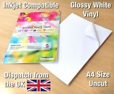A4 White Vinyl Inkjet Printable GLOSSY Self Adhesive Waterproof Sticker Sheet
