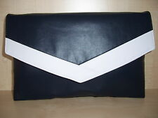 EXTRA LARGE NAVY BLUE & WHITE faux leather envelope clutch bag, fully lined BN,