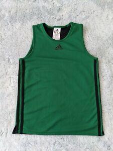 Adidas Size 9 - 10 Years Boys Tank Top Shirt Basketball Mesh Green Youth EUC
