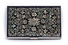 Mother of Pearl Metal Business Name ID Card Case Money Cash Holder Arabesque