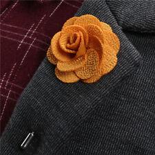 1X New Silk Blend Lapel Flower Handmade Boutonniere Stick Pin Men's Accessories