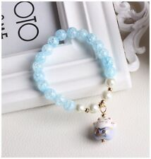Ice Crack Crystal Korean Style Charm Bracelet with a Fortune & Lucky Cat Pendant