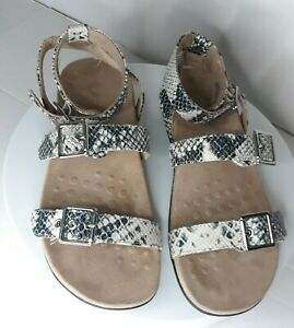 VIONIC Women's Snake Skin Print Ankle Wrap Sandals Ortho Silver Buckles Size 8