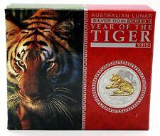 2010 Australia Gilded Lunar Tiger .999 Silver Proof 1 oz Coin. Box & COA. Rare.
