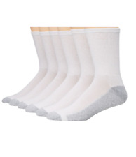 Hanes Men's Big & Tall Durable Cushion Crew Socks WHITE Shoe Size 13-15, 6-Pack