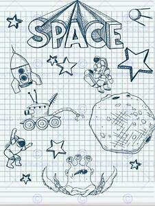 PAINTING ILLUSTRATION DRAWING COLLAGE SPACE ALIEN THEME ART PRINT POSTER MP5349B