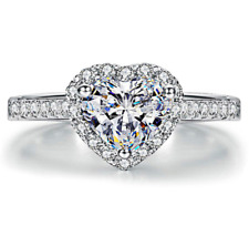 Sterling Silver Plated Heart Cut Cubic Zirconia Engagement Promise Rings