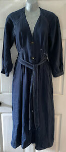 WHISTLES WOMEN'S BELTED BLUE LONG DRESS SIZE 10