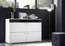 Kommode Sideboard Highboard Anrichte BASILIA schwarz hochglanz weiß matt