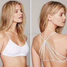 Bralette Bras Cut Out Caged Back Padded Bra Bralet Crop Top Cami White Hot