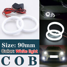 90mm Universal DRL COB LED Angel Eyes Halo Ring Fog Headlight Lamp Light White