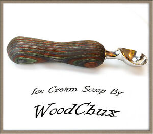 Handmade Colorgrain Wood Ice Cream Scoop Or Pizza Cutter Heavy Stainless 209a