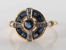 LUSH 9CT 9K GOLD BLUE SAPPHIRE DIAMOND ART DECO INS RING FREE RESIZE