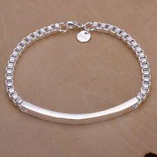 """Women's Mens Unisex 925 Sterling Silver Bracelet 8.5"""" L28"""