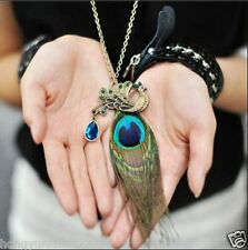 new peacock feather necklace retro sweater full chain necklaces