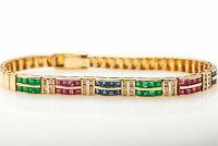 14CT Princess Cut Ruby, Emerald, Sapphire 14k Yellow Gold Over Tennis Bracelet