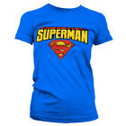 T-shirt FEMME Bleu Logo SUPERMAN Taille S M L Girlie supergirl dc comics marvel