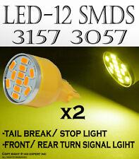 x2 pcs 12 Smds Led Smds Bright Amber Oem halogen Brake Tail Light Bulb Lamp V638(Fits: Neon)