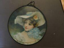 Antique Victorian Flue Cover Chromos Lithograph Tin Glass Woman Blue Bow (N)
