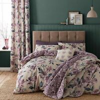 Catherine Lansfield Painted Floral Plum Quilt /  Duvet Cover Bedding Set